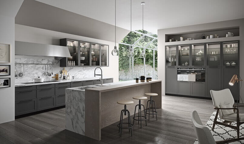 carrara marble kitchen countertops,designer kitchen island ideas,white and grey modern kitchen ideas,large kitchen vent hood,glass doors for kitchen cabinets,
