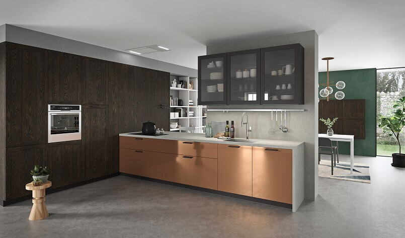 copper kitchen cabinet doors,home decor with copper,metallic copper and brown kitchen decoration,kitchen wall units with glass doors,italian kitchen furniture companies,