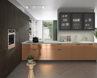 metallic copper and brown kitchen decoration,kitchen wall units with glass doors,italian kitchen furniture companies,copper kitchen cabinet doors,home decor with copper,