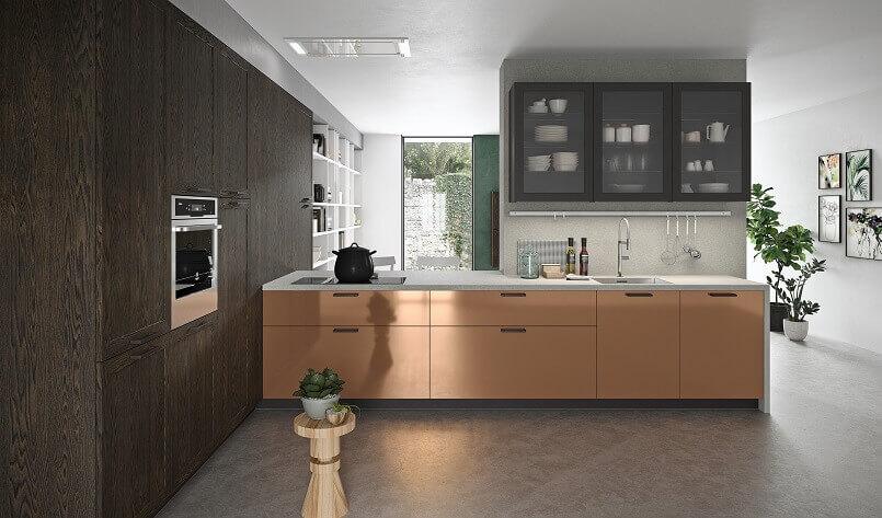 copper kitchen decorating ideas,copper effect kitchen cupboard doors,brown and copper kitchen color scheme,brown kitchen cabinets with glass doors,best italian kitchen cabinets brands,