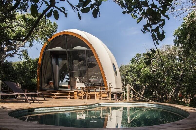 luxury glamping pods with pool accommodation,wild coast tented lodge yala sri lanka,eco friendly hotel design,cocoon-like pod resort,luxury pod accommodation,