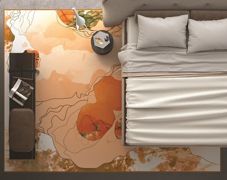 white orange designer carpets,how to decorate a bedroom with area rugs,pastel color carpet ideas,designer master bedroom decorating ideas,beige upholstered headboard,