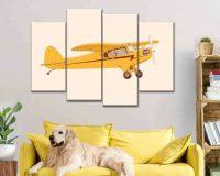 yellow airplane image for wall art,aviation decor ideas,wall decor travel theme,sky travel wall decor theme,multi panel wall décor,