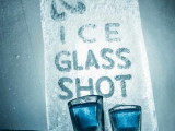 arctic snow hotel ice restaurant,ice glass shots,wall art made of ice and snow,restaurant design winter inspired,drink in ice glass images,