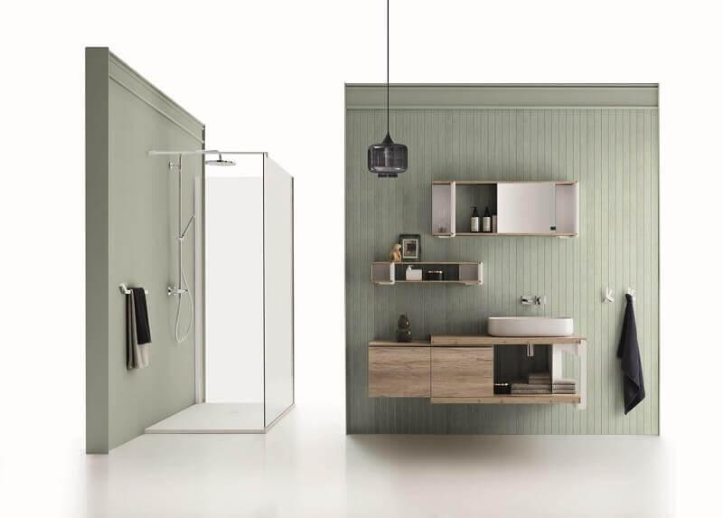 wood tone bathroom vanity,green bathroom wall decor,high end shower enclosures,shower design ideas,shower design images,