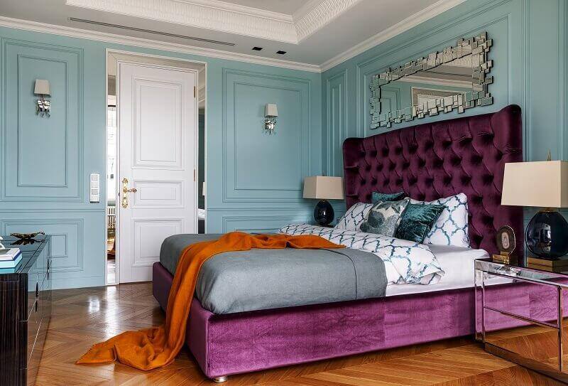soft turquoise walls bedroom,purple gray and turquoise bedroom,purple velvet bed design,awarded interior design,luxury flat interior design,