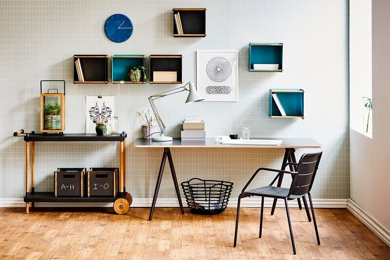 bookshelves made of box in home office design,organize your home with boxes,decorative storage boxes for home office,decorating with wooden boxes,wall shelves boxes,