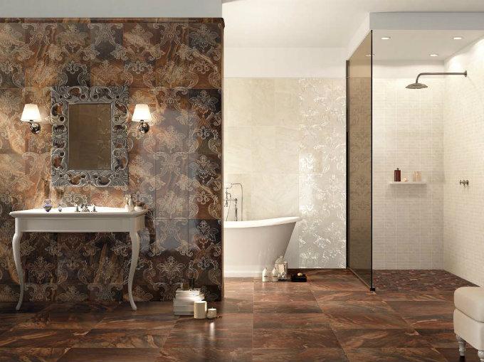 marble tile floor bathroom,beige brown classic bathroom tiles,brown and gold bathroom decor,high end bathroom furniture,neutral tone luxury bathroom ideas,