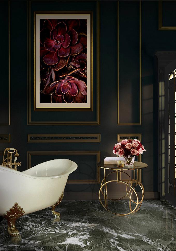 bathtub with gold legs,luxury master bathroom designs,classic bathroom design photos,gold frame painting bathroom,luxury classic interior design,