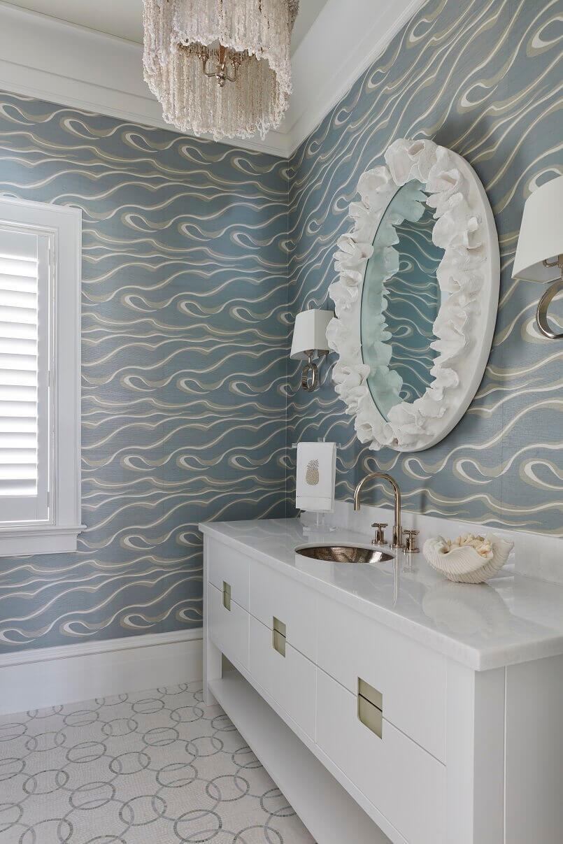 beach themed wall decor for bathroom,nautical inspired bathrooms,white and blue bathroom décor,coastal bathroom mirrors,sea themed wall décor,