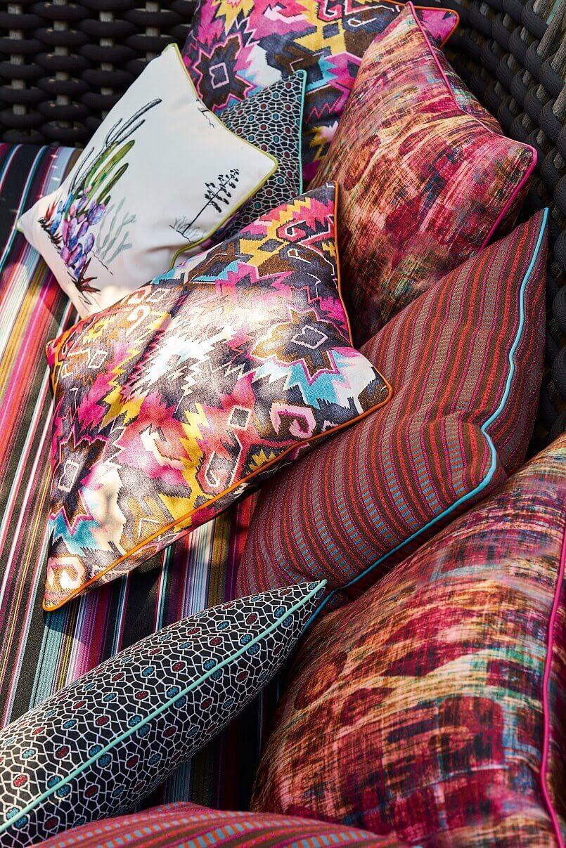 ethnic style home decor,mexican inspired decor,colorful decorative pillows,cushions for outdoor chairs,high end fabric brands,