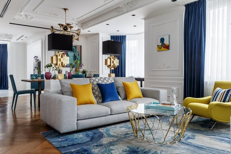 coffee table inspired by jewelry,colorful living room decorations,moscow luxury apartment design,yellow modern armchair,living and dining room luxury design,