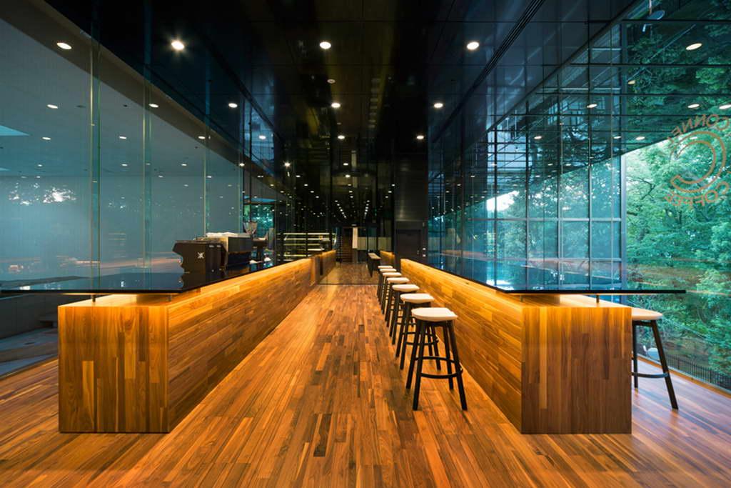 connel coffee space by nendo,cafe interior design tokyo,wood and glass bar interior design,large windows hospitality design,contemporary bar and restaurant design,
