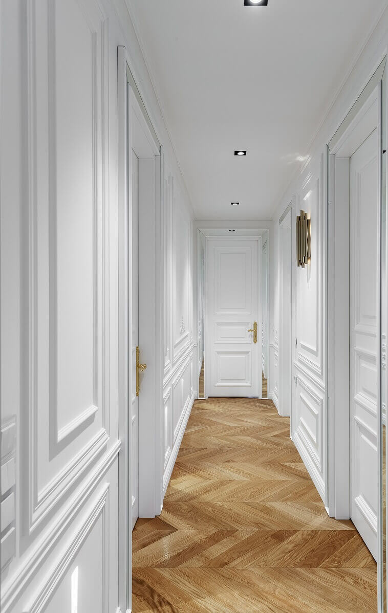 luxury corridor design,herringbone wood floor hallway,lighting ideas for hallway,white corridor design,cornice molding design photo,
