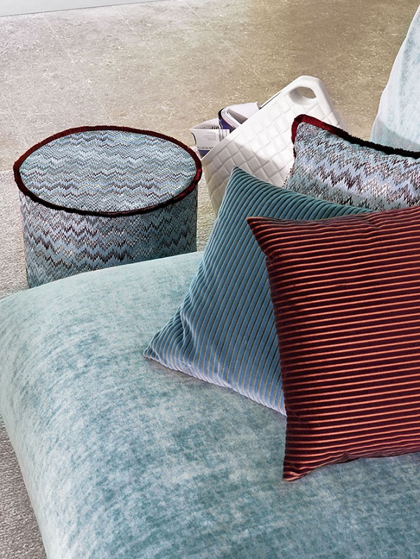 Missoni,MissoniHome,T&J Vestor Italy,fabric,decorative fabric,curtains,decorative curtains,decorative pillows,upholstery,upholstery design,upholstery fabric,upholstery fabric ideas,upholstery ideas,upholstered furniture,house decorating ideas, trendy colors,blue color,