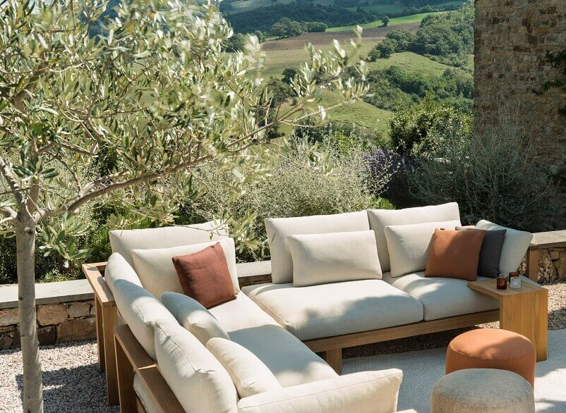 designer terrace furniture,beige sofa cushion ideas,modern corner sofa outdoor,wood outdoor sofa with cushions,garden sofa and pouffe,