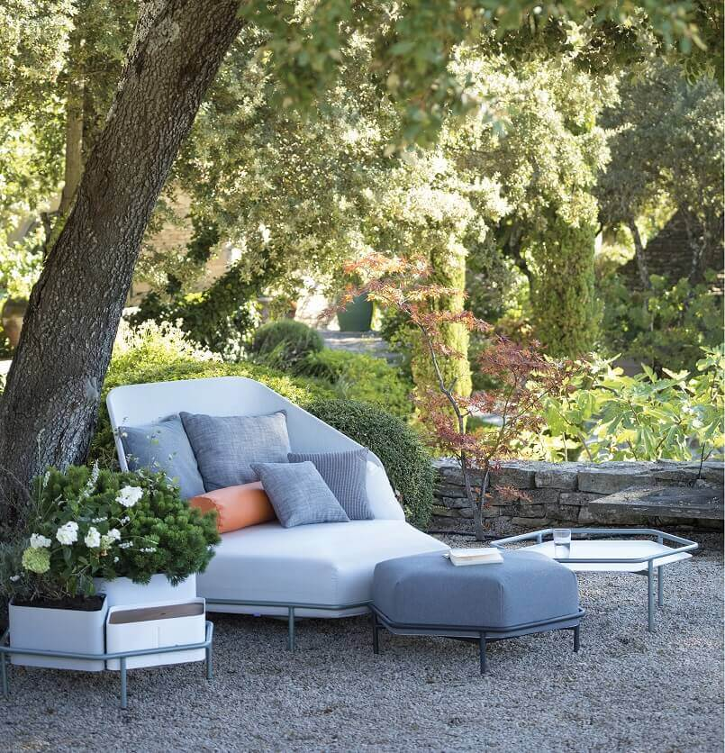 garden sofa and pouffe,hive inspired seating furniture,designer terrace furniture,outdoor terrace decorating ideas,creating a relaxing outdoor space,