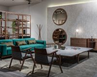 wooden furniture designs for living room,wood table design for home,designer shelves made of wood,luxury green velvet sofa,decorative mirrors with wood,