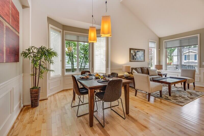 dining and living room together,dining room bay opening,lighting dining room modern,lighting in the dining room,natural lights in dining room,