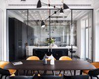 modern dining room,contemporary interior design apartment,ukrainian interior design,mid-century lighting dining room,designer table ideas,