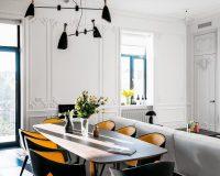 mid-century lighting dining room,orange chair decor ideas,dining room design,contemporary interiors,interior designer kiev,