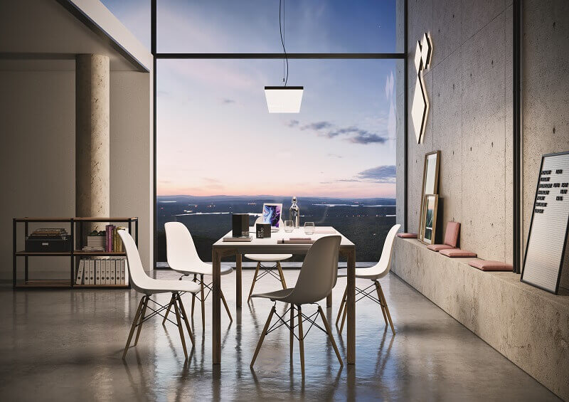 dining room design ideas,pendant lights above dining table,dining room light fixtures,zumtobel lighting,white chairs in dining room,