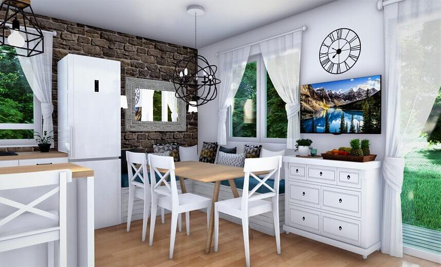 dizajn kuća za odmor,blagovaonice dizajn interijera,country house design furniture,rustic dining room table and chairs,white dining room with a view,