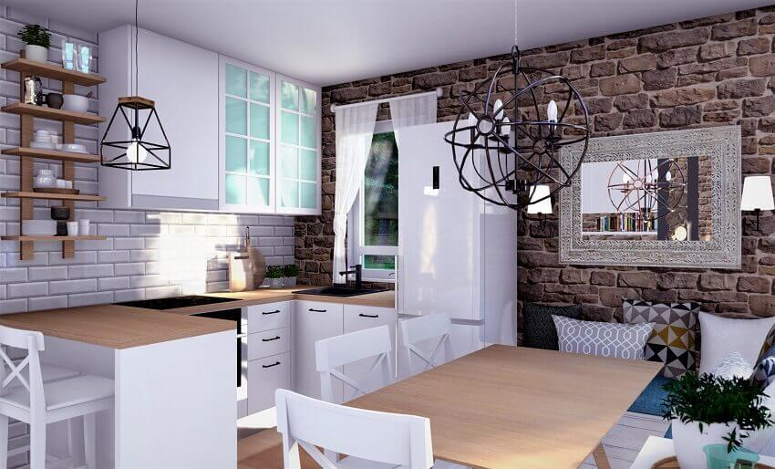 small kitchen with breakfast bar,country house kitchen design,white kitchen with wood countertops,small kitchen and living room together design,stone wall texture design,