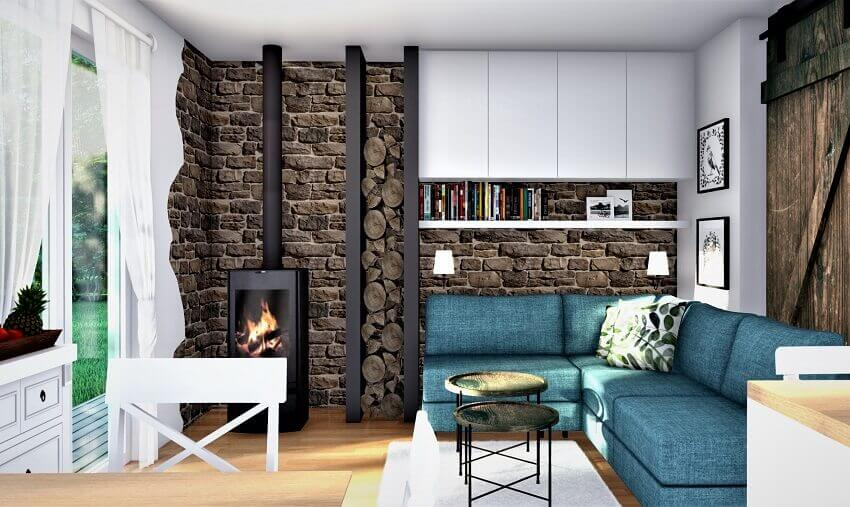 fire stove in living room,stone wall covering interior,blue corner sofa design for small living room,open space living room kitchen,modern country house interior design,