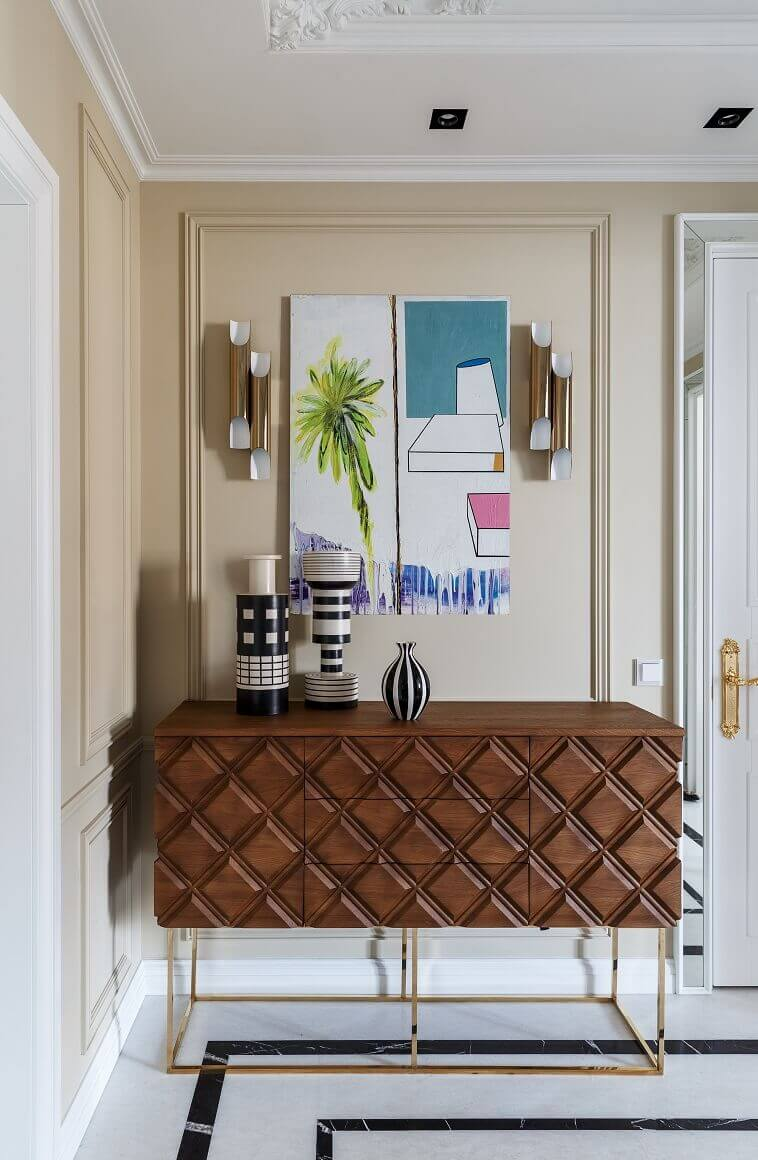 geometric print console table wood,designs wall lamp for entrance,decoration ideas for lobby,wood console with drawers and doors,luxury entrance hall decorating ideas,