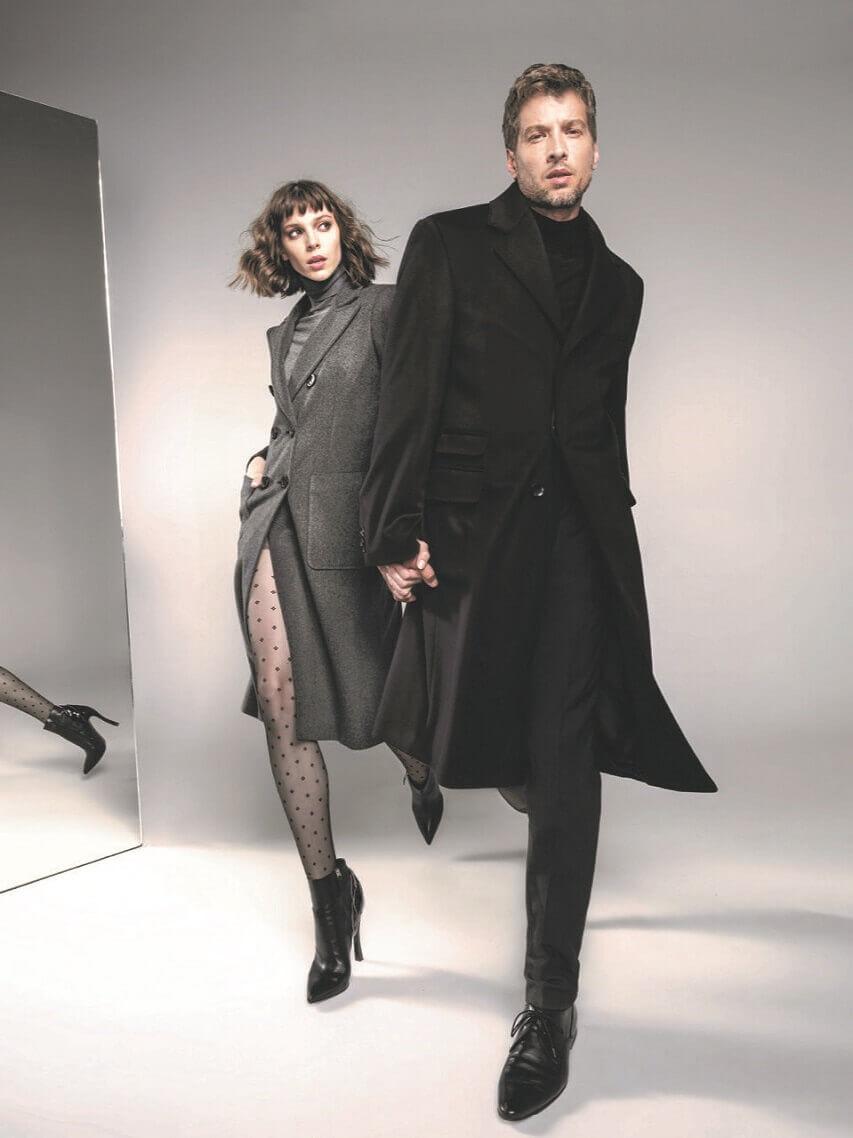 varteks ženski kaputi 2019,varteks muški kaputi,couple fashion photo,female coat gray,black outfit for men,