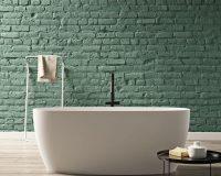 green brick wall bathroom ideas,matte white freestanding bathtub,floor towel rack for bathroom,small round table for bathroom,italian bathtub brands,