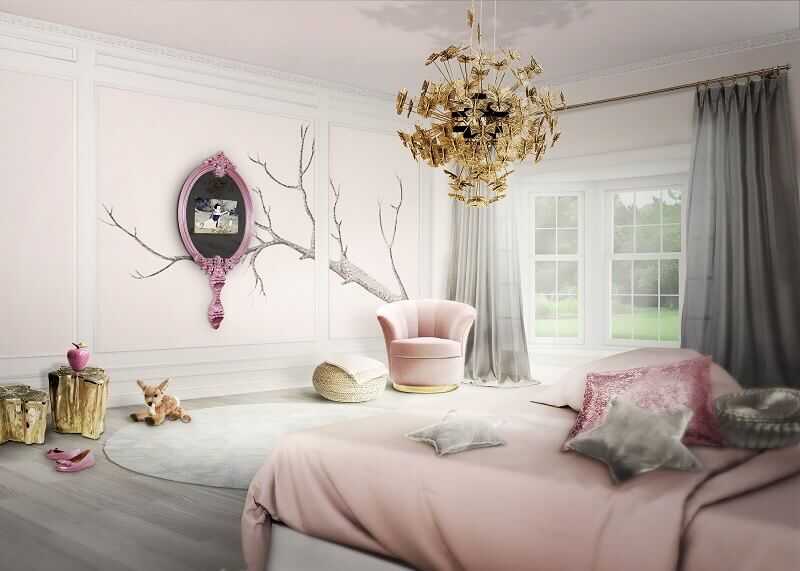 snow white mirror decoration,beautiful pink girls' room,butterflies inspired chandelier,snow white bedroom ideas,disney princess inspired room,