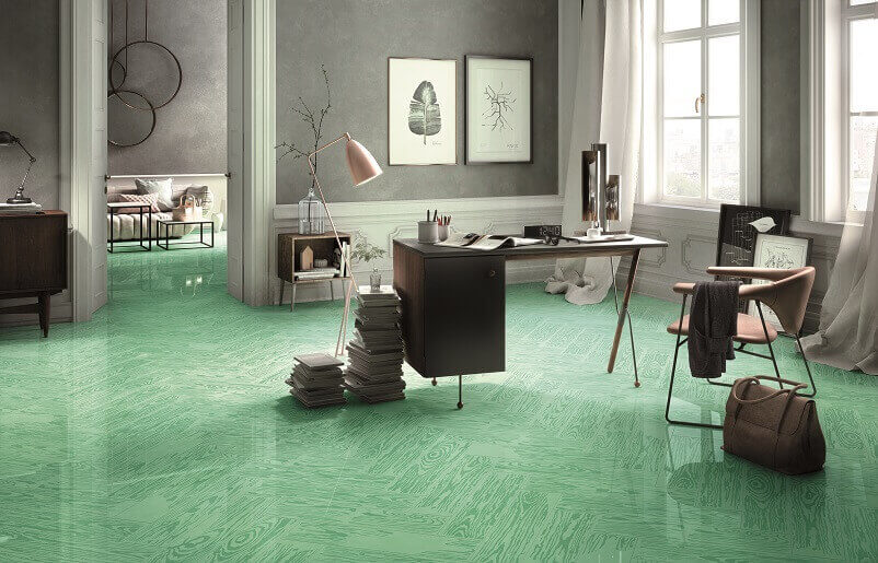green ceramic tile flooring,green and gray home decor,green color themed office decoration ideas,creative home workspace,how to setup a workspace at home,