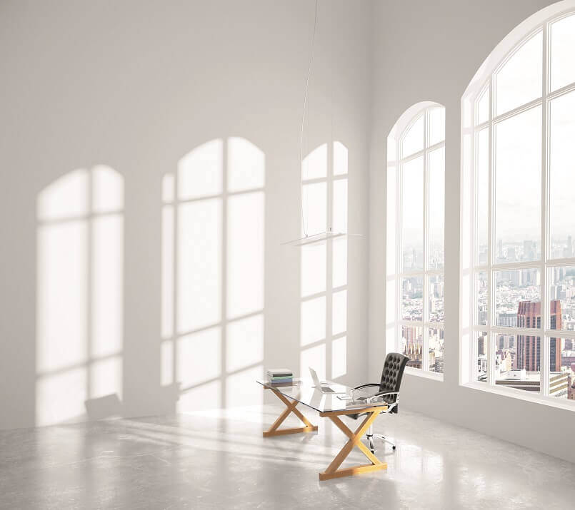 large windows in office,modern office design ideas,office with lots of natural light,modern home office lighting ideas,lighting tips for home office,