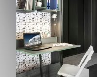 workspace in small apartment,pull out home office,pull out writing surface for desk,home office in living room,home office design ideas for small spaces,