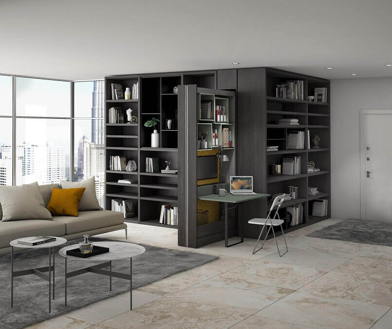 home office design ideas for small spaces,pull out home office,pull out writing surface for desk,home office in living room,home library design small space,