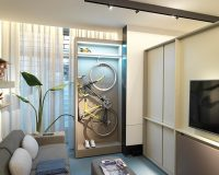 bike storage solution for apartment living,how to design a small studio apartment,bicycle storage small apartment,how to design a small living room,small living room storage ideas,
