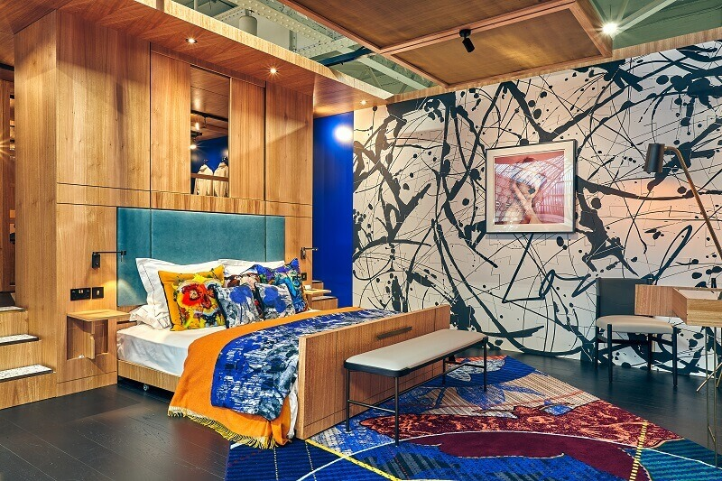 sleep & eat hotel set,colorful hotel rooms,hospitality interior design trends 2019,new trends in tourism,designer bedroom decor,