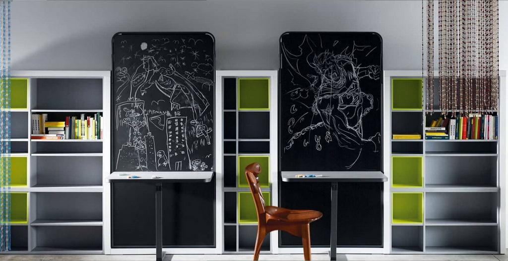 drawing board kids room design,shelves in children's room,green and gray boy bedroom,children's room decoration ideas,boy room decor ideas,