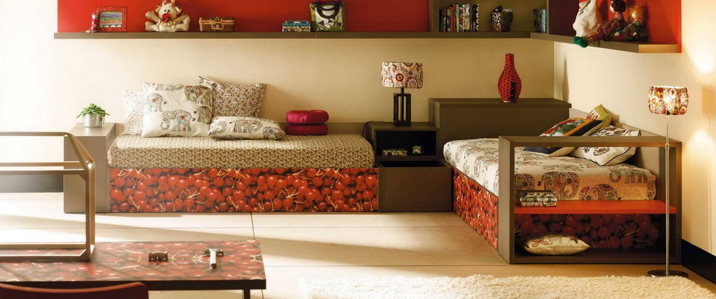 bedroom furniture decor for girl,red color furniture in girls room,photo wallpapers for walls and furniture,children's room decoration ideas,creative girl bedroom themes,