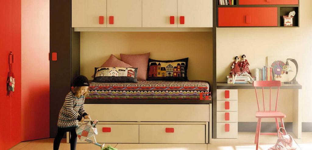 children's bed with storage drawers,decorating ideas for girly bedroom,trending kids room decor,orange and beige work desk,orange and beige retro bedroom ideas,