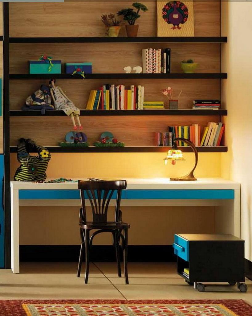 shelves in children's room,decorating ideas for girly bedroom,trending kids room decor,white and blue work desk,brown and wooden retro bedroom ideas,