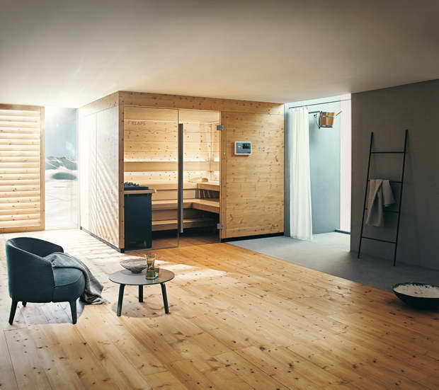 the new sauna chalet made from stone pine stylish balance between traditional and modern by. Black Bedroom Furniture Sets. Home Design Ideas