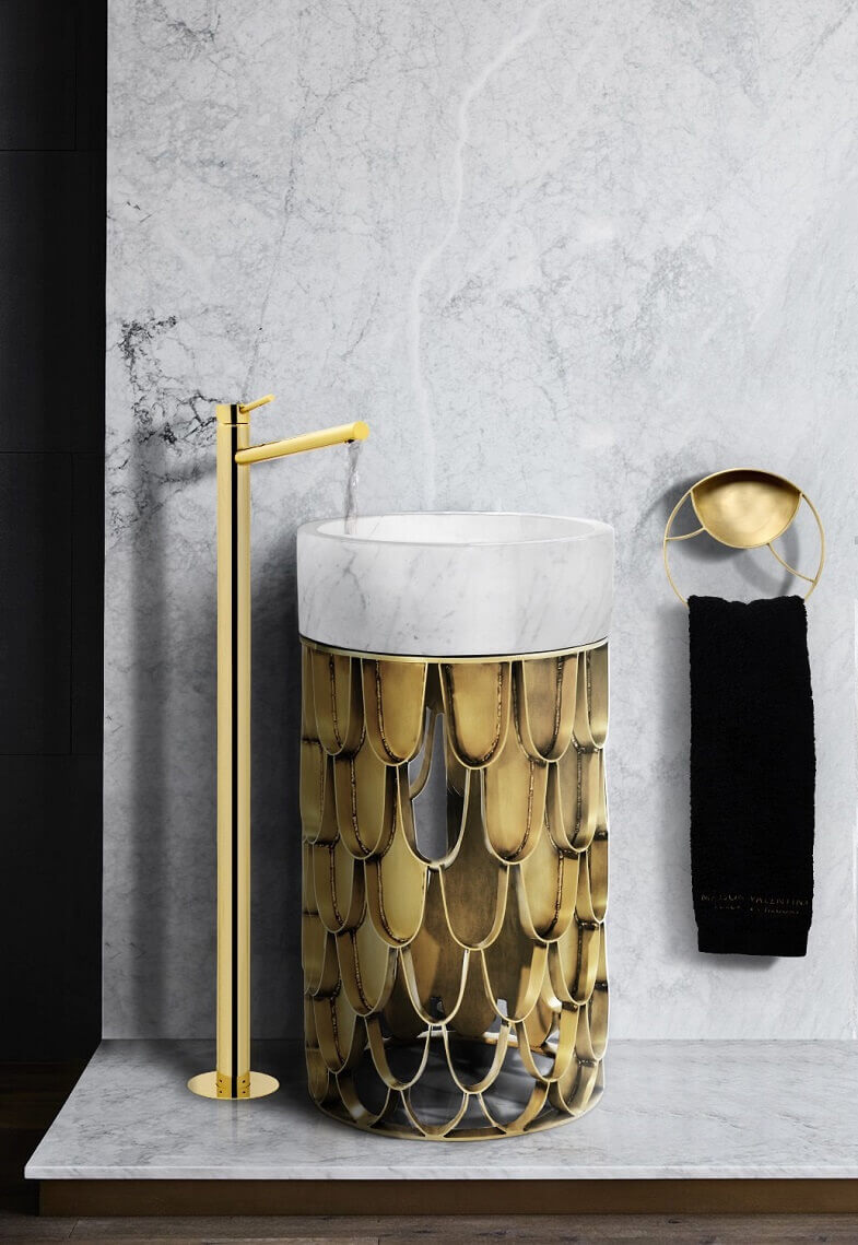 furniture inspired by fish scales,marble bathroom furniture,luxury bathrooms marble,wash basin inspired by koi carp,luxury marble wash basin with pedestal,