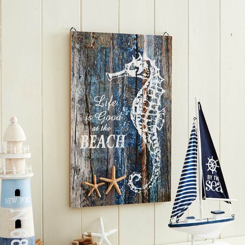 life is good at the beach sign,seahorse inspired decorations,sailor themed bedroom,beach inspired decor,by the sea decor,
