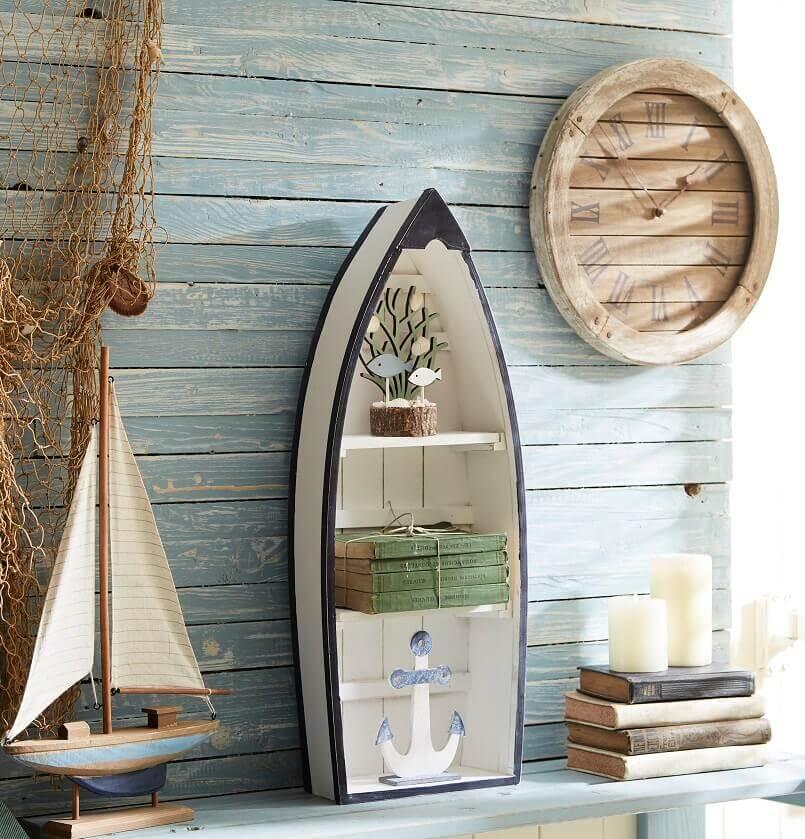 nautical themed bookshelf,wooden wall clock design,sailboat themed room decor,boat inspired furniture,wooden boat shaped shelves,
