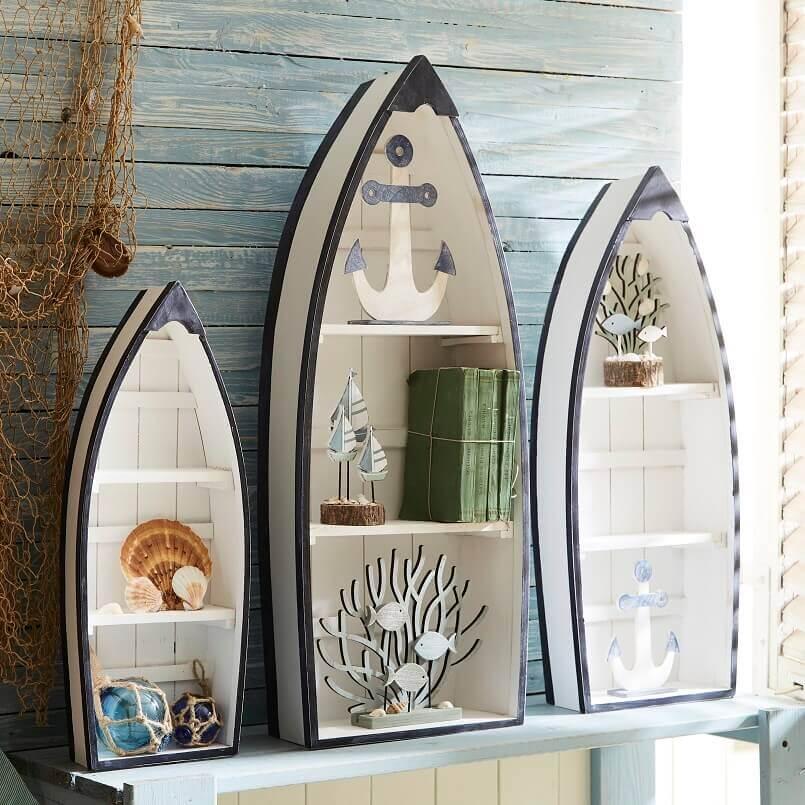 wooden boat shaped shelves,sea inspired house decor,boat themed decor,anchor themed decor,maritime bedroom decor,