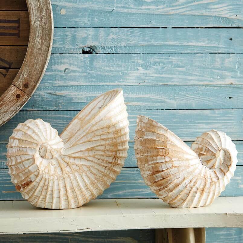 wooden nautilus decorations,maritime home décor,sea inspired decorating ideas,maritime decorative items,nautical coastal style interior decorating,