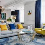 colorful living room decorations,living and dining room luxury design,moscow luxury apartment design,yellow modern armchair,coffee table inspired by jewellery,